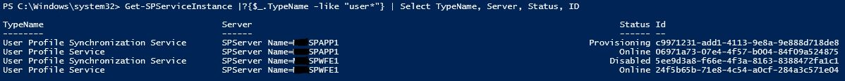 PowerShell - Get-SPServiceInstance - UPS Stuck on Starting